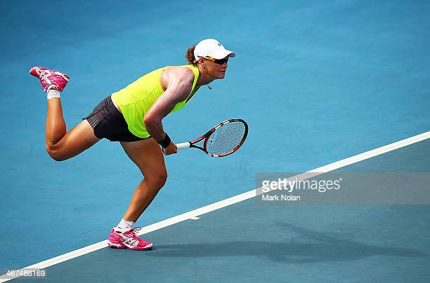 Samantha Stosur of Australia serves during a practice session ahead of the Fed Cup Tie between Australia and Russia at the Domain Tennis Centre on...