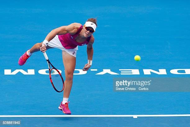 Samantha Stosur of Australia serves during her match on Ken Rosewall Arena against Slavakia's Daniela Hantuchova during the Apia International Sydney...