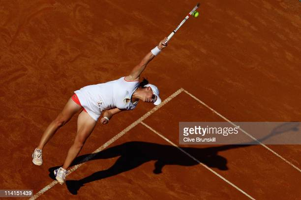 Samantha Stosur of Australia serves during her quarter final match against Francesca Schiavone of Italy during day six of the Internazoinali BNL...