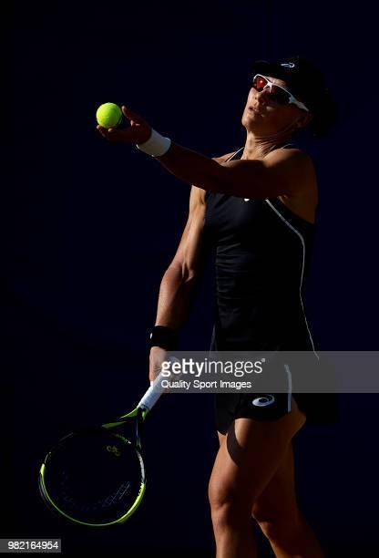 Samantha Stosur of Australia serves during her women's singles match against Anastasija Sevastova of Latvia during day sixth of the Mallorca Open at...