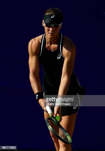 Samantha Stosur of Australia serves during her women's singles match against Anastasija Sevastova of Latvia during day six of the Mallorca Open at...