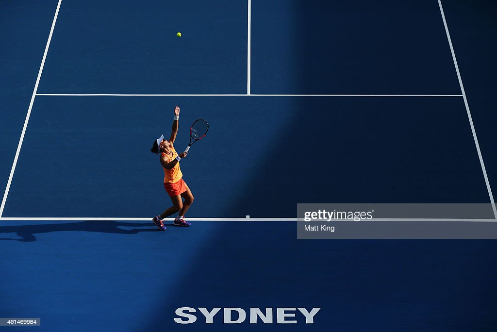 Samantha Stosur of Australia serves in her match against Barbora Zahlavova Strycova of the Czech Republic during day three of the Sydney International at Sydney Olympic Park Tennis Centre on January 13, 2015 in Sydney, Australia.