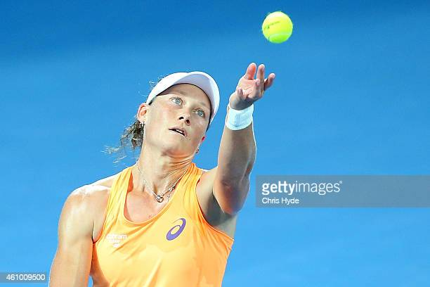 Samantha Stosur of Australia serves in her match against Varvara Lepchenko of the USA during day one of the 2015 Brisbane International at Pat Rafter...