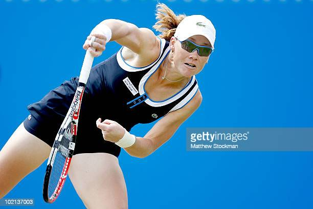 Samantha Stosur of Australia serves to Daniela Hantuchova of Slovakia during the AEGON International at Devonshire Park on June 16 2010 in Eastbourne...