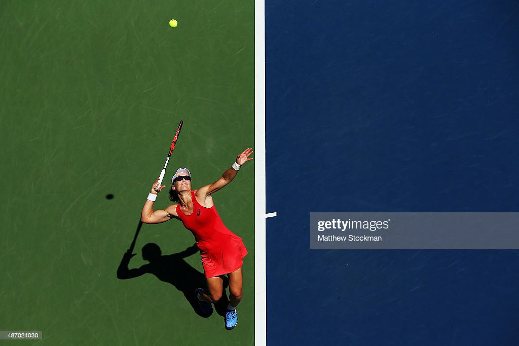 Samantha Stosur of Australia serves to Errani of Italy during their Women's Singles Third Round match on Day Six of the 2015 US Open at the USTA Billie Jean King National Tennis Center on September 5, 2015 in the Flushing neighborhood of the Queens borough of New York City.