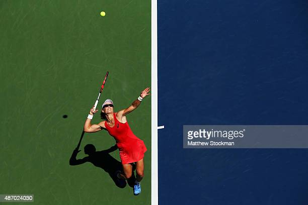 Samantha Stosur of Australia serves to Errani of Italy during their Women's Singles Third Round match on Day Six of the 2015 US Open at the USTA...
