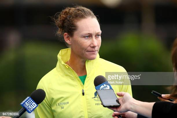 Samantha Stosur of Australia talks to the media during a media opportunity ahead of the Australia v Netherlands Fed Cup World Group Playoff at...