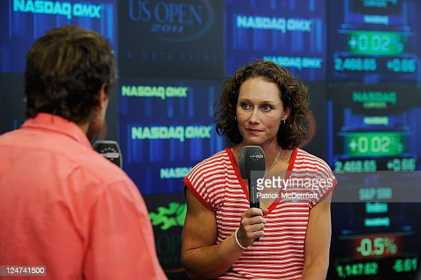 Samantha Stosur of Australia the 2011 US Open Champion is interviewed by Mats Wilander of Eurosport in the studio at the Nasdaq Marketsite on...
