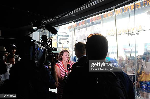 Samantha Stosur of Australia, the 2011 U.S. Open Champion, is interviewed in the studio at the Nasdaq Marketsite on September 12, 2011 in New York...