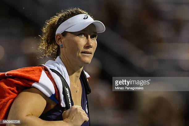 Samantha Stosur of Australia walks off the court after defeating Heather Watson of Great Britain 57 36 during day one of the Rogers Cup at Uniprix...