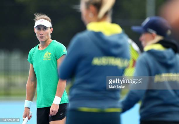 Samantha Stosur of Australia watches on at practice after a media opportunity ahead of the Australia v Netherlands Fed Cup World Group Playoff at...