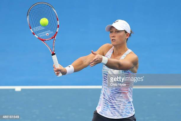 Samantha Stosur plays a forehand during a training session ahead of their Fed Cup tie between Australia and Germany at Pat Rafter Arena on April 17,...