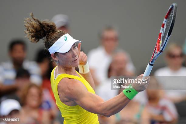 Samantha Stosur plays a forehand shot against Anna Petkovic during the Fed Cup Semi Final tie between Australia and Germany at Pat Rafter Arena on...
