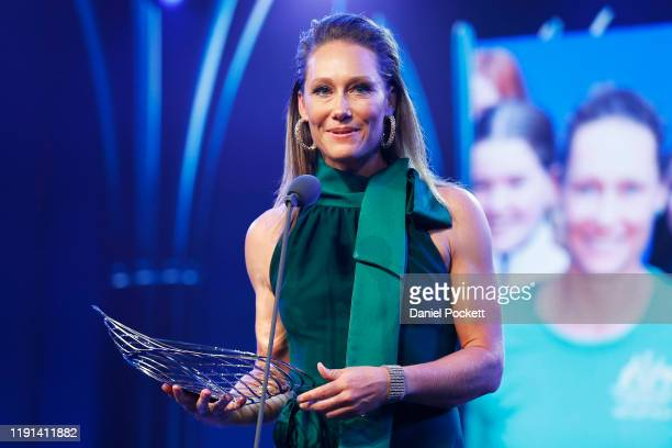 Samantha Stosur speaks after being awarded with the 2019 Spirit of Tennis award during the 2019 Newcombe Medal at Crown Palladium on December 02 2019...