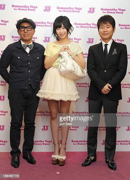 Samantha Thavasa CEO Kazumasa Terada Rino Sashihara of AKB48 and JJ Chief Editor Tsuneki Shinohara pose for a photogragh at Samantha Thavasa Deluxe...