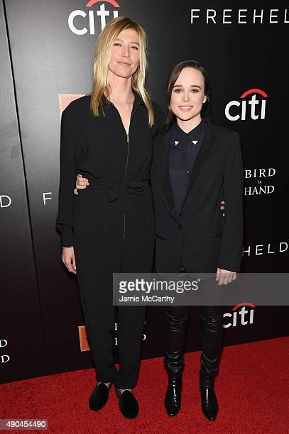 Samantha Thomas and actress Ellen Page attend the 'Freeheld' New York premiere at the Museum of Modern Art on September 28 2015 in New York City