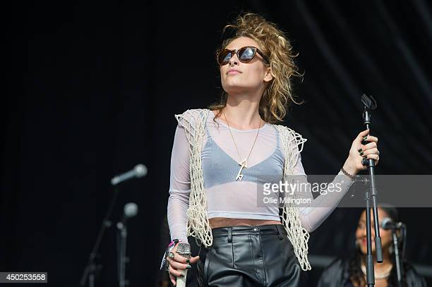 Samantha Urbani of Friends performs onstage with Blood Orange at Field Day Festival at Victoria Park on June 7 2014 in London United Kingdom