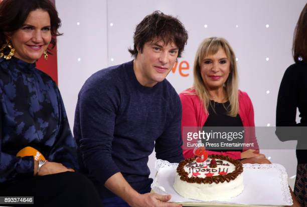 Samantha VallejoNagera and Jordi Cruz attend the presentation of a new seson of 'Masterchef Junior' at TVE studios on December 14 2017 in Madrid Spain