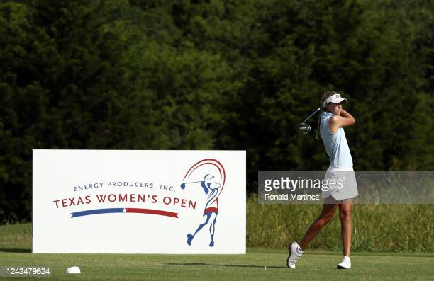 Samantha Vodry plays her shot from the 18th tee during the first round of the Energy Producers Inc Texas Women's Open on June 02 2020 in The Colony...