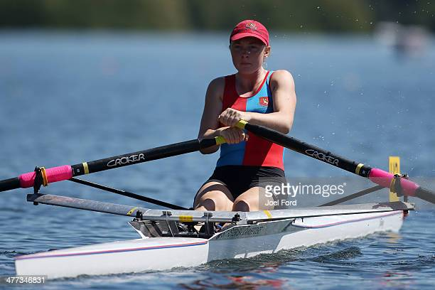 Samantha Voss of St Peters School competes in the girl's U18 single sculls final during the AON North Island Secondary School Championships at Lake...