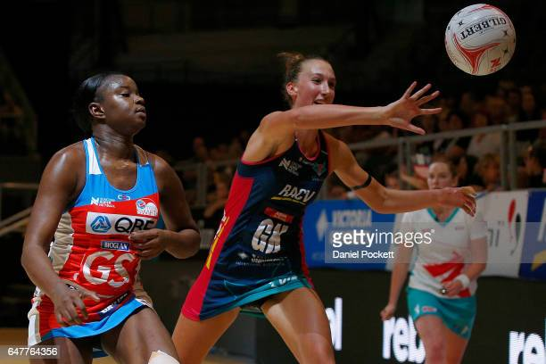 Samantha Wallace of the Swifts and Emily Mannix of the Vixens compete for the ball during the round three Super Netball match between the Vixens and...