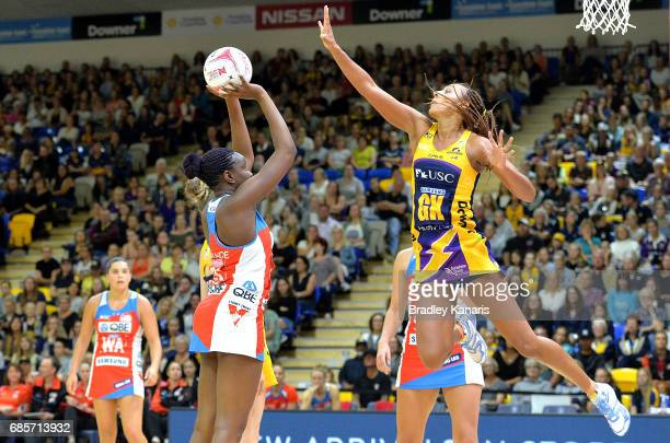 Samantha Wallace of the Swifts shoots during the round 13 Super Netball match between the Lightning and the Swifts at University of the Sunshine...