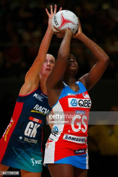 Samantha Wallace of the Swifts takes a shot during the round three Super Netball match between the Vixens and the Swifts at Hisense Arena on March 4...