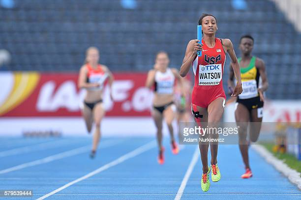 Samantha Watson from USA competes in women's 4x400 meters relay final during the IAAF World U20 Championships at the Zawisza Stadium on July 24 2016...