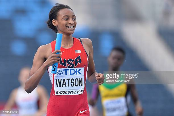 Samantha Watson from USA smiles and celebrates gold medal in women's 4x400 meters relay final during the IAAF World U20 Championships at the Zawisza...