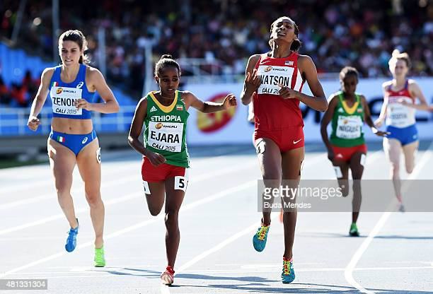 Samantha Watson of the USA in action during the Girls 800 Meters Final on day five of the IAAF World Youth Championships Cali 2015 on July 19 2015 at...
