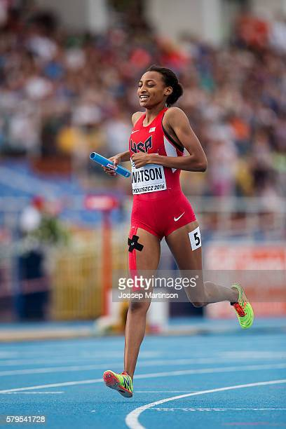 Samantha Watson of USA competes in women's 4 x 400 metres relay during the IAAF World U20 Championships at the Zawisza Stadium on July 24 2016 in...