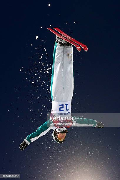 Samantha Wells of Australia competes in the Freestyle Skiing Ladies' Aerials Qualification on day seven of the Sochi 2014 Winter Olympics at Rosa...