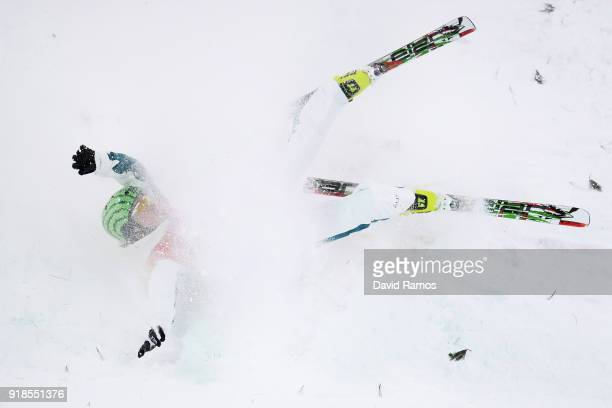 Samantha Wells of Australia crashes during the Freestyle Skiing Ladies' Aerials Qualification on day six of the PyeongChang 2018 Winter Olympic Games...