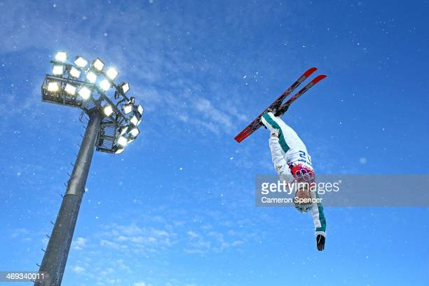 Samantha Wells of Australia practices before the Freestyle Skiing Ladies' Aerials Qualification on day seven of the Sochi 2014 Winter Olympics at...