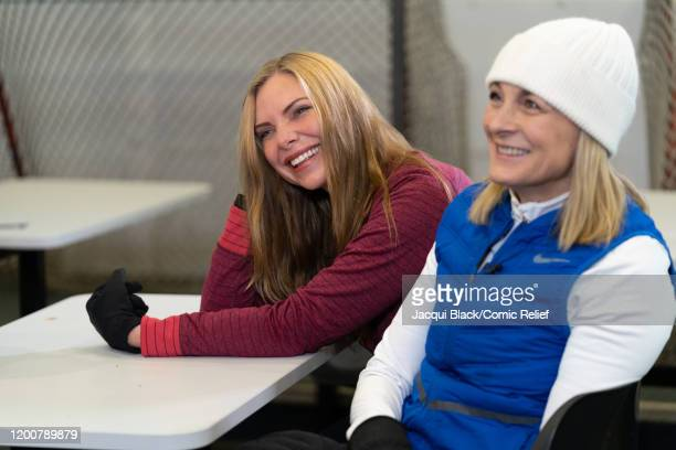 Samantha Womack and Louise Minchin laugh during their training session on February 7 2020 in London England The celebrities are training for Sport...