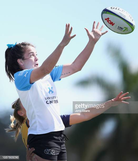 Samantha Wood of University of Canberra takes the lineout during the Aon Uni 7s match between University of Canberra and Bond University on September...