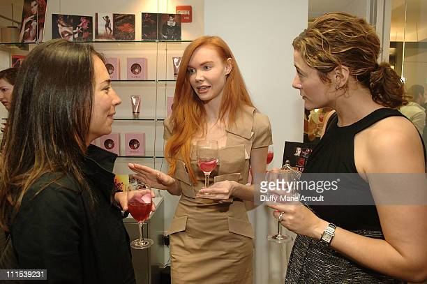 Samantha Yanks of Gotham and Hamptons Bebe model Jeri and AnneMarie Guarnieri of Gotham and Hamptons attend the fragrance launch at Inter Parfums on...