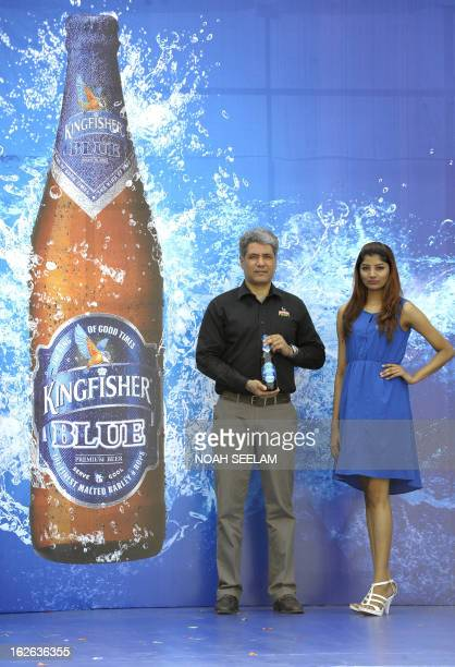 Samar Singh Sheikhawat Marketing Senior Vice President of United Breweries Limited poses during the launch of the Kingfisher Blue beer in Hyderabad...