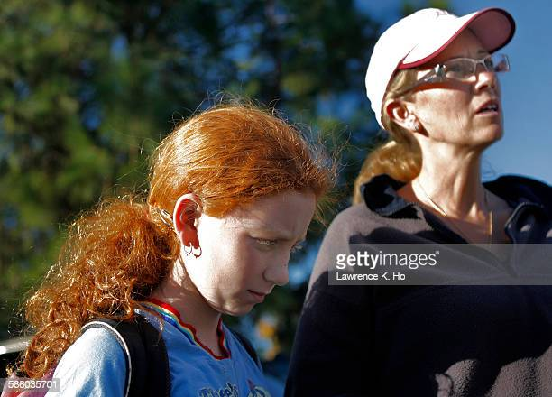 "Samara Kleinfinger, 12 student at A.E. Wright with mother Monique Kleinfinger recounting how she was hit and kick by other students during the ""kick..."