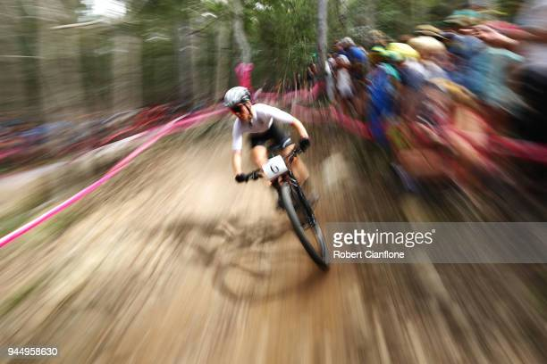 Samara Sheppard of New Zealand competes during the Women's Cross-country on day eight of the Gold Coast 2018 Commonwealth Games at Nerang Mountain...