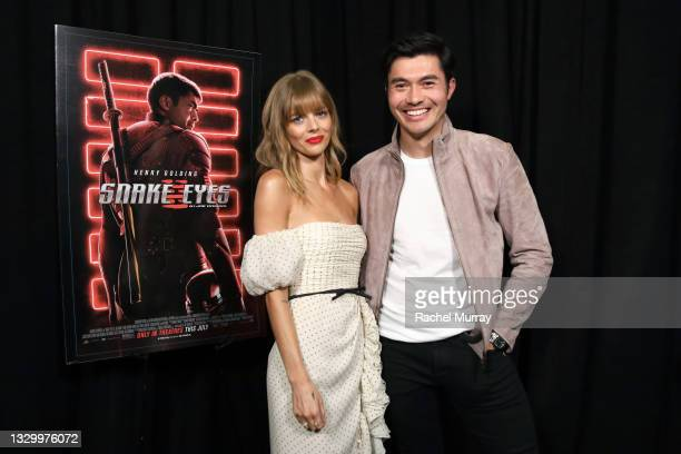 Samara Weaving and Henry Golding attend the Comic-Con Fans First Los Angeles Screening 'Snake Eyes: G.I. Joe Origins' at TCL Chinese Theatre on July...