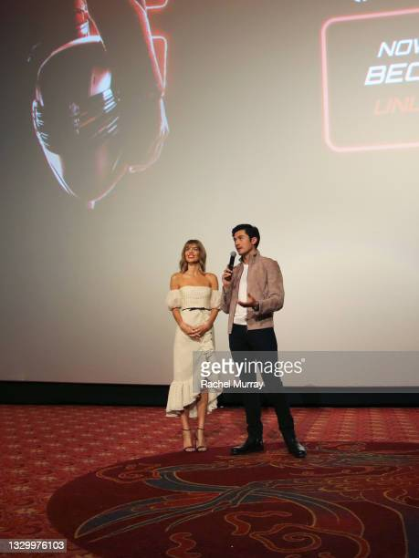 Samara Weaving and Henry Golding speak onstage during the Comic-Con Fans First Los Angeles Screening 'Snake Eyes: G.I. Joe Origins' at TCL Chinese...