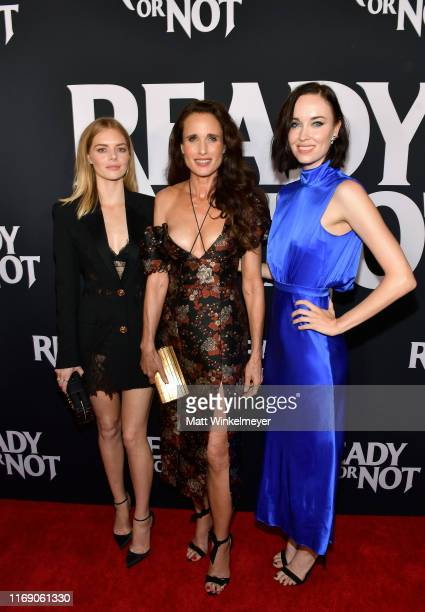 Samara Weaving Andie MacDowell and Elyse Levesque attend the LA Screening Of Fox Searchlight's Ready Or Not at ArcLight Culver City on August 19 2019...