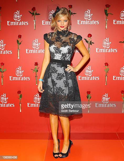 Samara Weaving arrives at AAMI Victoria Derby Day at Flemington Racecourse on October 30 2010 in Melbourne Australia