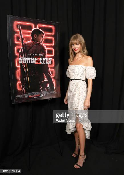 Samara Weaving attends the Comic-Con Fans First Los Angeles Screening 'Snake Eyes: G.I. Joe Origins' at TCL Chinese Theatre on July 21, 2021 in...