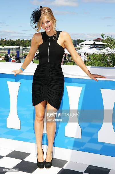 Samara Weaving poses during Derby Day at Flemington Racecourse on October 29 2011 in Melbourne Australia