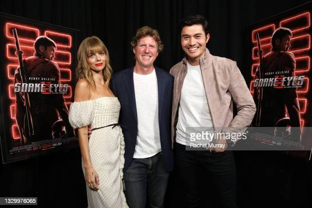 Samara Weaving, producer Erik Howsam, and Henry Golding attend the Comic-Con Fans First Los Angeles Screening 'Snake Eyes: G.I. Joe Origins' at TCL...