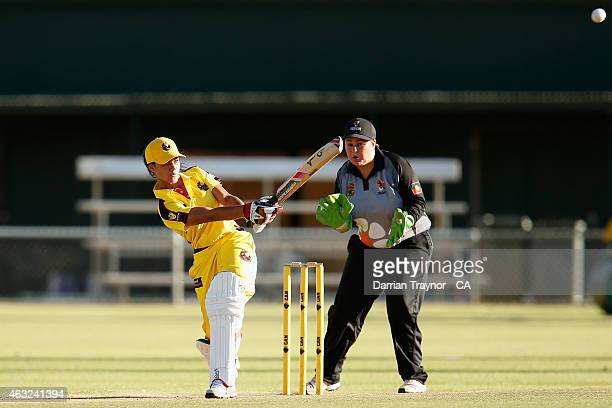 Samara Williams of Western Australia bats against the Northern Territory off the field during the 20415 Imparja Cup on February 12 2015 in Alice...