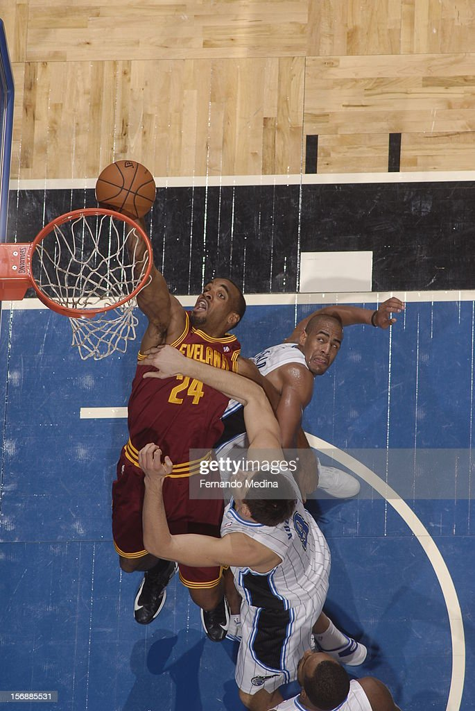 Samardo Samuels #24 of the Cleveland Cavaliers drives to the basket against the Orlando Magic on November 23, 2012 at Amway Center in Orlando, Florida.