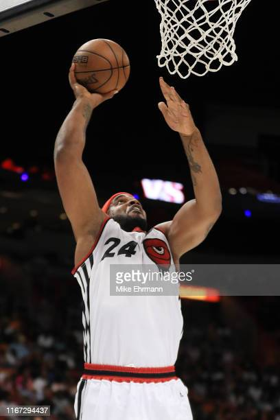 Samardo Samuels of Trilogy dunks against the Ghost Ballers during week eight of the BIG3 three on three basketball league at AmericanAirlines Arena...